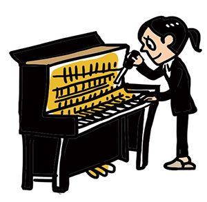 ピアノをみる調律師
