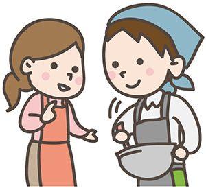 料理を教える女性