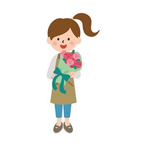 花束持つフラワーコーディネーター