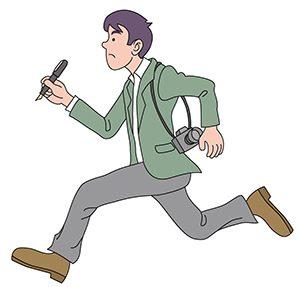 走っているジャーナリスト