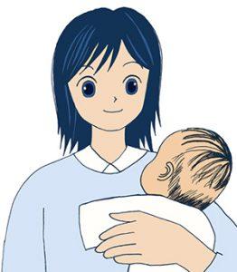 赤ちゃん抱える助産師