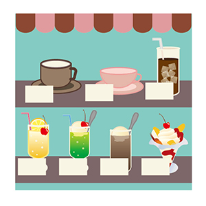 喫茶店のディスプレイ