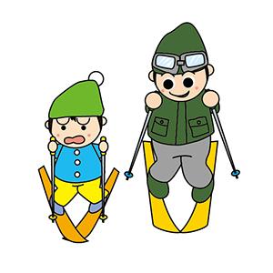 子供に教えるスキーコーチ