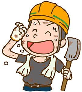 汗をかく土木作業員