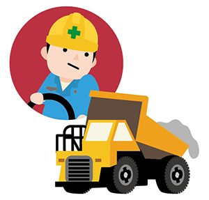 建設機械を運転する人