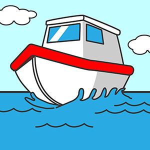 大海原と船
