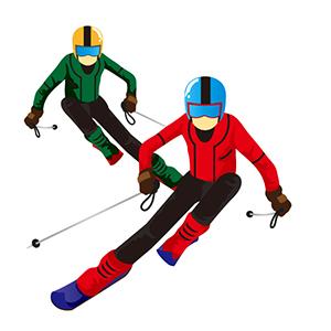二人のスキーヤー