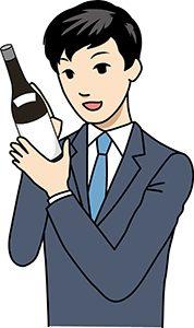 ワインを見る男性