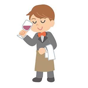 ワインをテイストするソムリエ