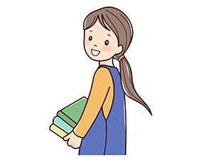 本を持つ教諭