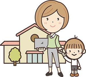 子供と手を繋ぐ教師