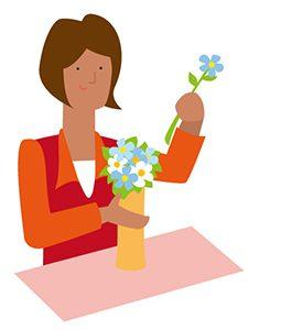 花瓶に花を指す
