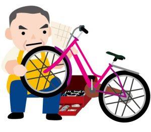 自転車いじる人